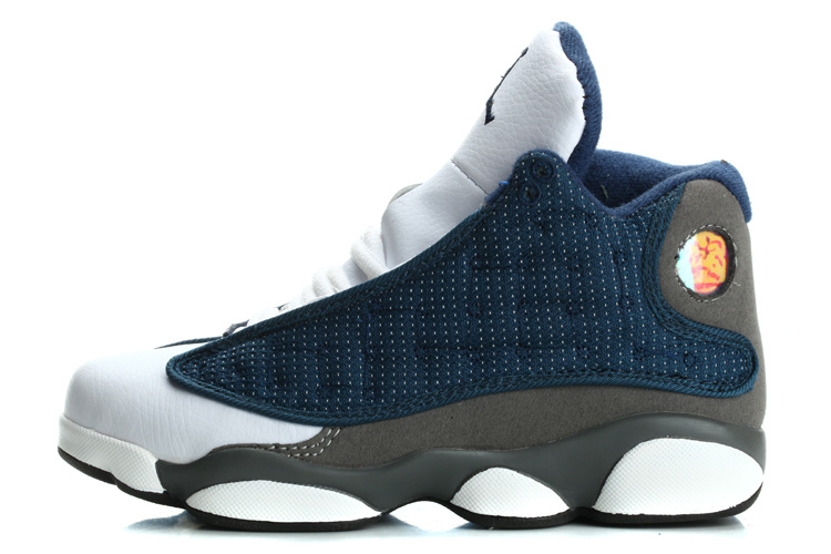 nike air jordan 13 (XIII) retro shoes youth-Carolina Blue/Flint Grey/White