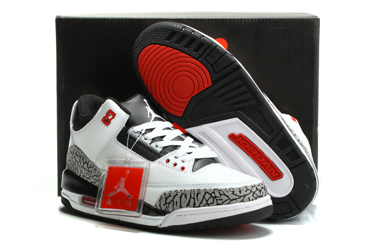 nike air jordan 3 (III) retro shoes men-white/black/cement grey
