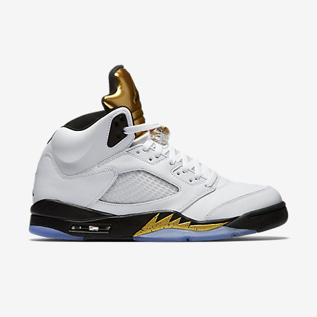 air jordans 5 (V) retro men shoes-white/metallic gold/black