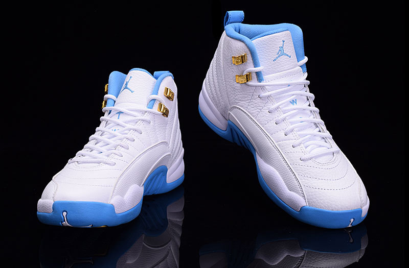 air jordans 12 (XII) shoes men-white/north carolina blue